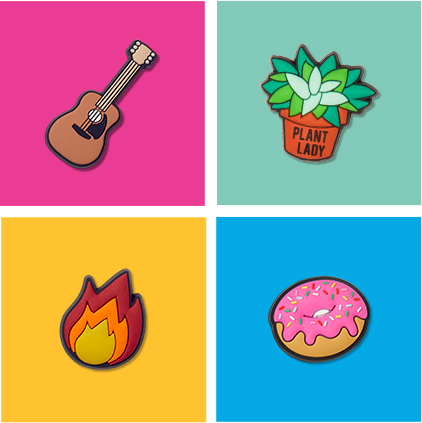 Guitar, Plant Lady, Flame, & Donut Jibbitz.